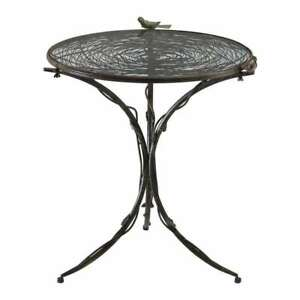 Anthropologie Farmhouse Cottage Chic Small Bistro Dining Table Iron & Glass