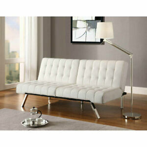 Convertible Futon Couch Sofa Vanilla Faux Leather Full Size White Finish