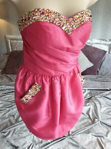 Rrp £199 Forever Unique puff 8 Pink Mini party Dress embellished prom sweetheart