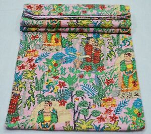 Twin Size New Indian Cotton Applique Trendy Kantha Quilt Throw Blanket Bedspread