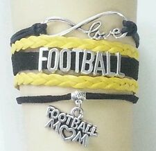 Football Leather Charm Bracelet Silver-Black & Yellow -Adjustable-Sports-#54