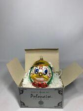 """""""Happy Sad Alarm Clock� 2-Faced Glass Christmas Ornament 5"""" Polonaise Kurt Adler"""