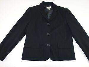 Talbots Women's 3 Button Blazer Jacket Size 16 Black 100% Wool Suit Coat Lined