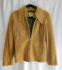 Vintage 70s Suede Jacket by Imperial Leather & Sportswear Tan Wide Lapels XS S