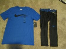 NEW Mens NIKE PRO 2Pc WORKOUT Outfit Blue S/s+COMPRESSION Pants MD FREE SHIP