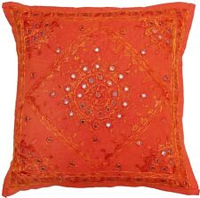 "16"" Orange Handmade Cushion Pillow Cover Cotton Mirror Work Sofa Throw Decor"