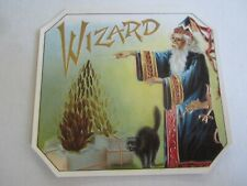 Original Old Antique - WIZARD - Outer CIGAR LABEL - MAGIC - BLACK CAT
