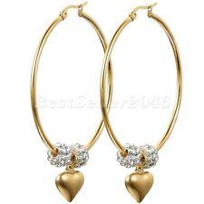 50MM Large Hoop Womens Gold Tone Stainless Steel Love Heart Dangle Earrings Gift