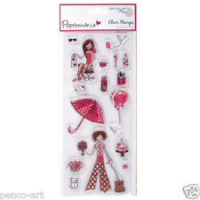 Papermania set clear rubber stamps Chic party Presents balloons flowers cake cat