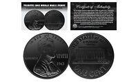 TRIBUTE 1943 World War II Steel PENNY Coin Clad in BLACK RUTHENIUM (Lot of 3)