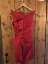 Gorgeous Karen Millen Red Origami Duchess Satin Dress UK 8 Worn Once