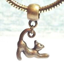 BRONZE CAT 3D_Bead For European Charm Bracelet_Kitty Kitten Pet Feline Halloween