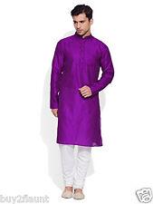 Men Full Sleeve Designer Faux Silk Long Kurta Casual Festive Wear  Plain  0415