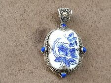 China Pendant Sterling Silver 925 - Length 2 1/2 inches x 1 1/2 inches