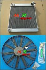 for Jaguar XKE E Type Series 1 1965 1966 1967 MT 3row aluminum radiator & fan