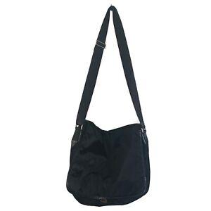 PRADA Messenger Crossbody Black Vela Nylon W Saffaino Leather Trim Shoulder Bag
