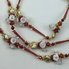 Christmas Festive Holiday Indoor Decor Plastic Bead Garland Red Gold White