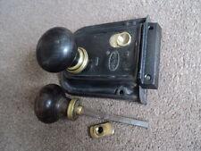 Vintage Rim Lock, paire de bois et laiton poignées de porte et broche, et garder