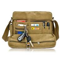 Men Retro Canvas Messenger Shoulder Bag Casual Travel Satchel Crossbody Bag