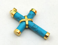 Cross Pendant & Necklace Turquoise Yellow Gold Plated