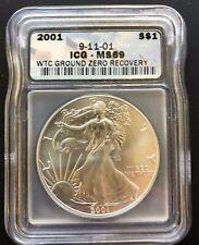 2001 $1 Silver Eagle - 9-11-01 WTC Ground Zero Recovery - ICG MS 69
