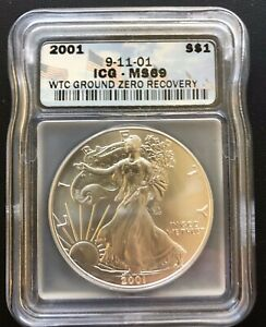 2001 $1 Silver Eagle - 9-11-01 WTC Ground Zero Recovery - ICG MS 69