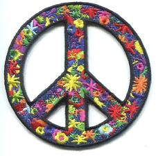 PEACE SIGN flower power PATCH iron/sew on love woodstock *FREE SHIPPING* p-3629