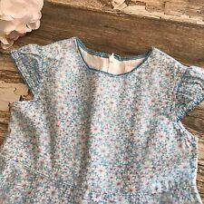 Baby Lulu Dress Daisy Girls Size 4 Blue Linen Blend Spring Easter Floral Ruffle