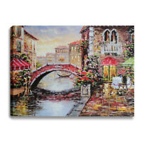 Vintage Venice Italy Canvas Print Wall Art Framed Picture Home Living Room Decor