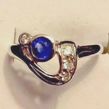 RING DAINTY BLUE SAPPHIRE, STATEMENT RING  WHITE GOLD FILLED. SIZE 8