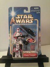 Rare Red Clone Trooper Star Wars Saga AOTC # 17 With Firing Tripod Cannon 4 Dots