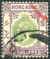 HONG KONG-1926 $3 Green & Dull Purple Sg 131 GOOD  USED V22800