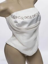 Vintage Ivory Bridal Corset Top For Wedding Dress Chiffon Silver Size 12 - 14