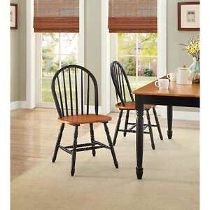 SOLID WOOD CHAIRS SET OF 2 Kitchen Nook Dining Room Seat Farmhouse