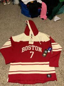 47 Brand Boston University McAvoy #7  Hockey Hoodie Sweatshirt Red Men's Size XL