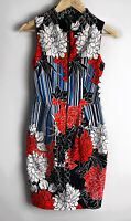 CUE floral Striped Zip Front Textured Dress With Pockets Size 6