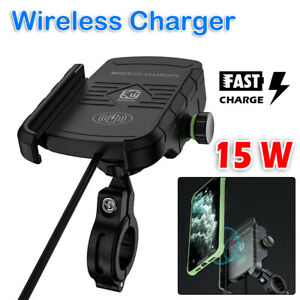 15W Qi Motorcycle Motorbike Wireless Charger Charge Mobile Phone Holder Mount UK