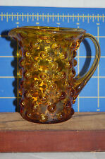Vintage Fenton Round  Amber Hobnail Syrup Pitcher  - 4 inches tall