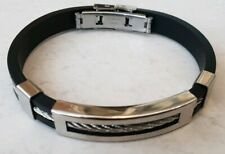 Mens Silver Stainless Steel Bracelet Bangle Black Rubber Silicone