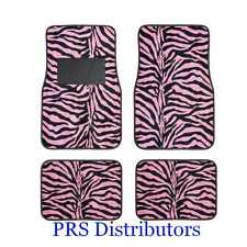 Girly PINK BLACK ZEBRA ANIMAL PRINTS CAR FLOOR MATS in 4 Pcs Valentines Day Gift