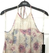 M&S Marks s14 Ladies Autograph Rosie Luxe Oyster Halterneck Lace Camisole BNWT