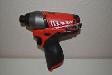 "New Milwaukee Brushless  M12 FUEL12V 2453-20  1/4"" Cordless Impact Driver"