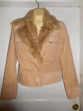 Outer Edge Womens Tan Corduroy Jacket w/Rabbit Collar Size Medium EUC!!!