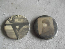 Lot of 2 Vintage Mirror Backs Small Girl and Playhouse in Tree LOOK