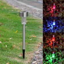 6PCS Stainless Steel Solar Power LED Landscape Light Pathway Lamp Color Changing