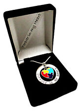 """Autism Jewelry Awareness Necklace Puzzle Piece 20"""" Forever In My Heart"""