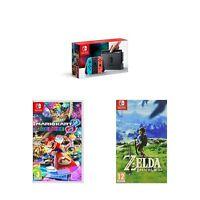 Nintendo Switch Neon with Mario Kart 8 Deluxe and The Legend of Zelda - Bre... .
