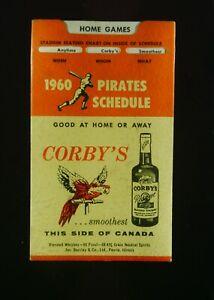 Vintage 1960 Pittsburgh Pirates Pocket Schedule Corbys