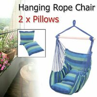 Hammock Hanging Rope Chair Porch Swing Seat Patio Camping Portable w/ 2 Pillows