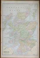 "Vintage 1900 SCOTLAND Map 14""x22"" ~ Old Antique Original EDINBURGH INVERNESS"